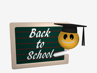 Tafel mit dem Text Back to School. Daneben ist ein Emoticon mit einem High School Hut.