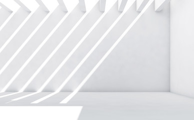 White room with pattern of light beams 3d