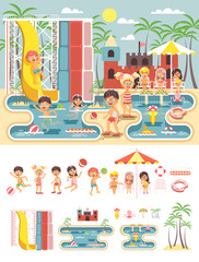 Vector big set isolated cartoon characters children, boys and girls resting swimsuits, swimming trunk, beachwear playing ball, sun umbrella flat style white background, aqua water park landscape