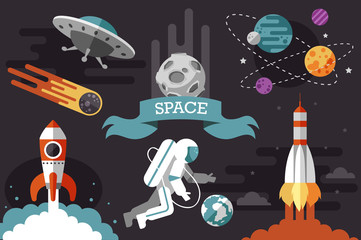 flat space set. rocket. cosmonaut.