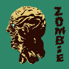 The terrible head of the zombie monster. Vector illustration.