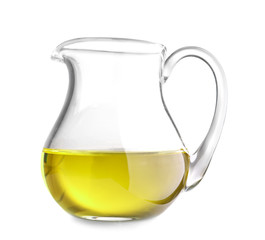 Pitcher with olive oil on white background