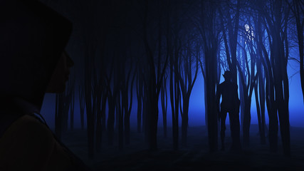 Fototapete - 3D female looking at creature in foggy forest