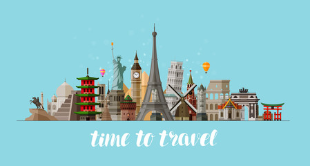 Travel, journey concept. Famous sights countries of world. Vector illustration
