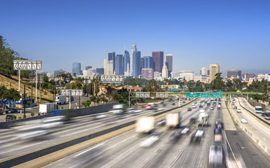 Los Angeles City Freeway Traffic At Sunny Day
