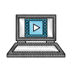 laptop computer movie play device technology digital icon vector illustration