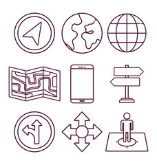navigation and location related icons over white background vector illustration