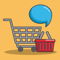 shopping cart and speech bubble icon over yellow background colorful design vector illustration