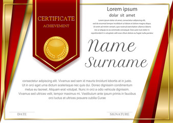 frame certificate background design template, gold detailed certificate