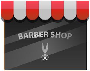 Barber shop window vector icon