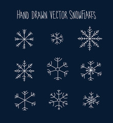 Hand Drawn Snowflakes Icon Set Over Blue Background, Vector Illustration