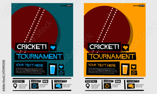 cricket tournament flat style vector illustration sports poster