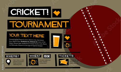 "Invitation For Corporate Cricket Tournament: ""Cricket Tournament (Flat Style Vector Illustration Sports"