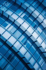 full frame of patterned wall,blue toned.