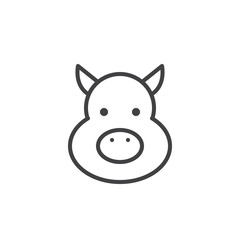 Year of pig line icon, outline vector sign, linear style pictogram isolated on white. Astrology symbol, logo illustration. Editable stroke.