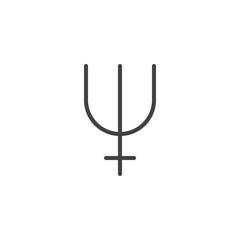 Neptune symbol line icon, outline vector sign, linear style pictogram isolated on white. Astrology symbol, logo illustration. Editable stroke.