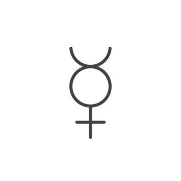 Mercury symbol line icon, outline vector sign, linear style pictogram isolated on white. Astrology symbol, logo illustration. Editable stroke.
