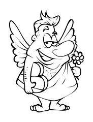 Happy Cupid with Heart Gift Vector Drawing