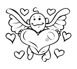 Cupid Presenting Heart Drawing Vector