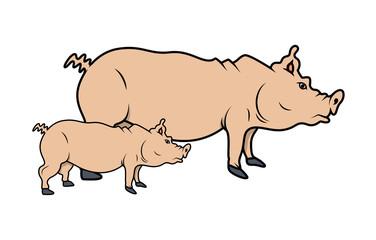 Cartoon handmade Pigs Vector