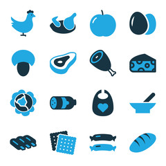 Set of 16 meal bi-color icons