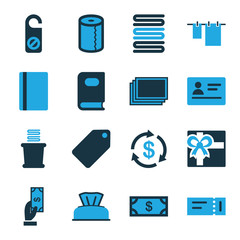 Set of 16 paper bi-color icons