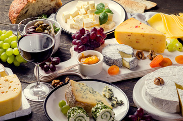 Wall Mural - Red wine and assorted cheese