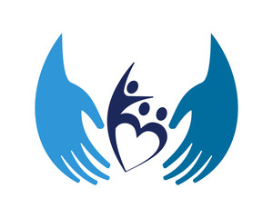 blue care hand human shape figure character icon image vector