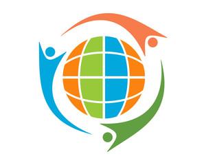 unity globe human shape figure character icon image vector