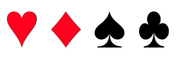 Set of card game symbol isolate horizontal