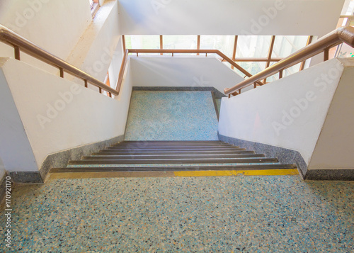 Stairs Blue Old Terrazzo Floor Walkway Down Inside The Building. Select  Focus With Shallow Depth