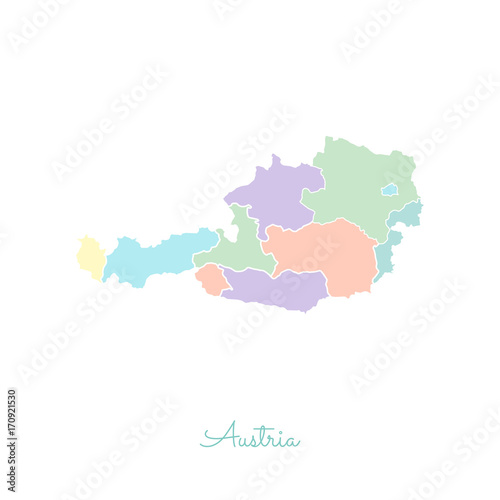 austria region map colorful with white outline detailed map of
