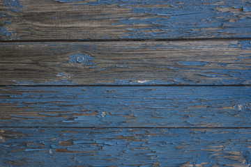 Old wooden surface with exfoliating paint dark blue colour 1