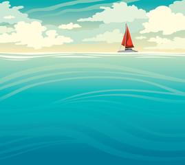 Sailboat, sea and cloudy sky. Summer nature seascape.