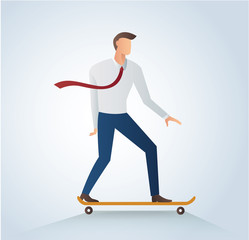 businessman on skateboard vector illustration