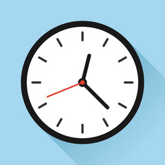 Wall clock appointment schedule time flat vector icon illustration for websites