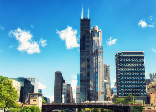 Chicago City skyline with Willis Tower