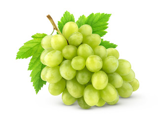 Green grape with leaves isolated on white background. Full depth of field.