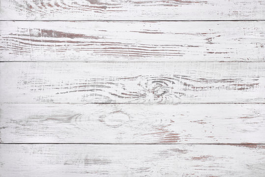 Old white wood background, rustic wooden surface with copy space