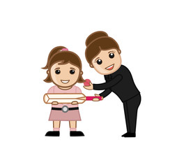 Woman Presenting Cricket Bat and Ball to a Kid Girl