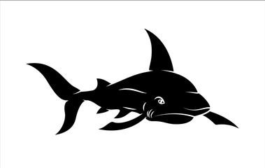 Shark Fish Vector Silhouette - handmade clip-art vector