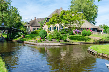 View of typical houses and canals of Giethoorn, Netherlands