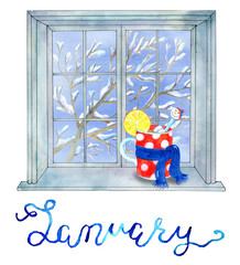 January month concept. Cup in scarf on the winter window. Calendar page design