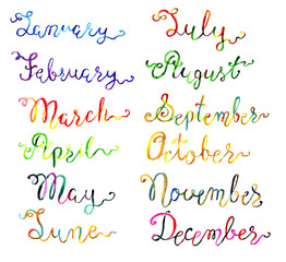 Set with hand drawn watercolor calligraphic lettering of 12 months on white
