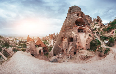 Fantastic sunrise over the Red Valley in Cappadocia, Anatolia, Turkey. Volcanic mountains Wall mural