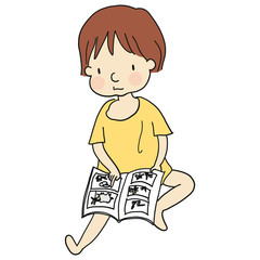 Vector illustration of kid sitting on floor and reading a book. Family concept. Cartoon character drawing style. Isolated on white background.