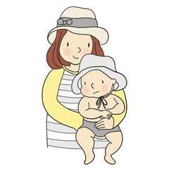 Vector illustration of mom carrying baby in her arms. Family concept - mother and kid. Cartoon character drawing style. Isolated on white background.