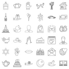 Bride icons set, outline style