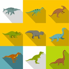 Silhouettes of dinosaurs icon set, flat style