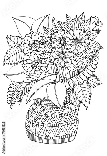 Flower Bouquet In The Vase Black And White Drawing Can Use For